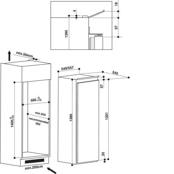 arg8161a whirlpool r frig rateur encastrable 140 149 cm. Black Bedroom Furniture Sets. Home Design Ideas