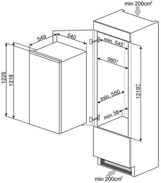 s3c120p smeg r frig rateur encastrable 122 cm elektro. Black Bedroom Furniture Sets. Home Design Ideas