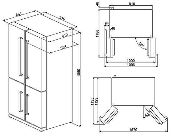 Fq75xped smeg side side 3 en 4 deurs elektro loeters - Schema electrique refrigerateur no frost ...